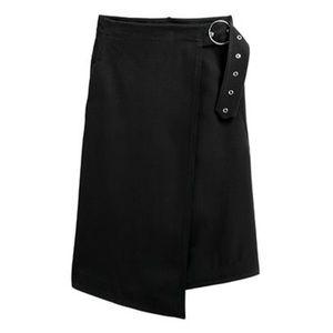 H&M Studio Collection Wrapover Black Twill Skirt NWT SZ 10